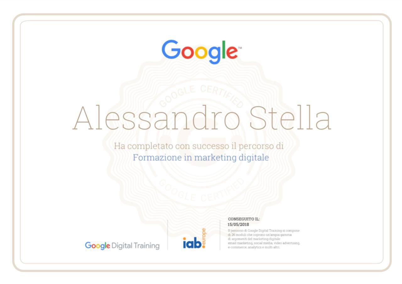 Alessandro Stella, consulente informatico - Certificato Google Digital Marketing